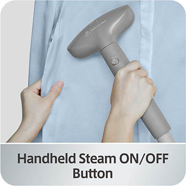 GS42-DJ_Blue_Handheld_Power_Button clothing steamer